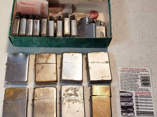 7 Vintage Zippo lighters and 1 other lighter   includes Zippo lighter Parts Date Code Card