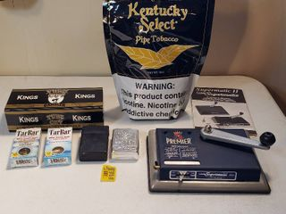 Cigarette Making Products   Premier Supermatic  Half Bag of Tobacco  2 Boxes of Tar Bar  Box ox Cigarette Filter Tubes and Cases