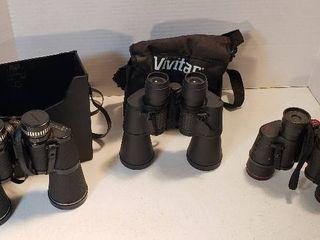 3 Pair of Binoculars  Jason Empire 10x50  Vivitar 7x50 and Simmons 7x35