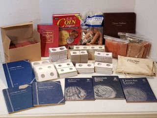 Coin Collecting Items  Books  Coin Holders  and Paper Tubes for Rolls of Coins   no coins included
