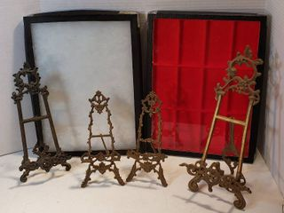 4 Cast Brass Easels  10 5 to 16 in  tall  and 2 Flat Display Cases  12 x 16 5 in  x 1 in  deep