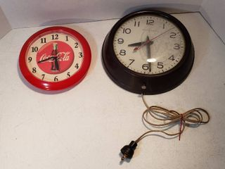 2 Wall Clocks  Vintage Bakelite Shell GE electric  inside of glass needs cleaned  and Coca Cola Battery Operated   both work