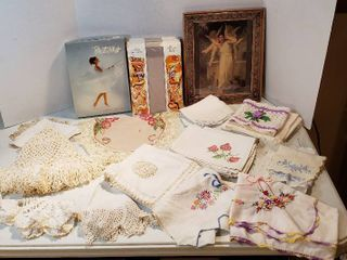 Table linens for Small Tables  Embroidered Napkins  Box of 5 Pair of Vintage Beauty Mist Silver Panty hose  and Framed Picture