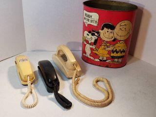 Vintage Peanuts Metal Trash Can and 3 Push Button landline Telephones