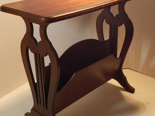 Vintage lyre Style Magazine Rack Side Table   24 x 12 x 21 in  tall   looks to have been repaired