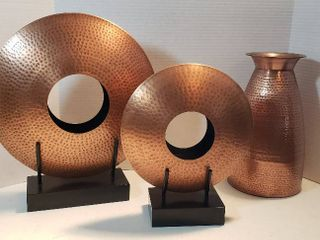 3 Pieces of Hammered Copper Decor  Vase   13 in  tall and 2 Open Discs on stand by Global Views   11 in    15 in  diameter
