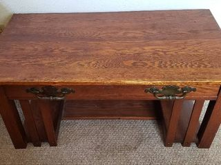 Vintage Mission Style Oak Coffee Table w Single Drawer   42 25 x 23 5 x 18 75 in  tall   wear crack on top   see pix