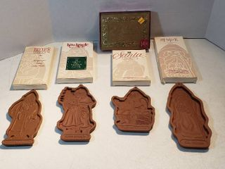 4 longaberger Christmas Cookie Molds  1990 to 1993   Father Christmas  Kriss Kringle  Santa Claus and St  Nick and Box of Holiday Greetings Cards