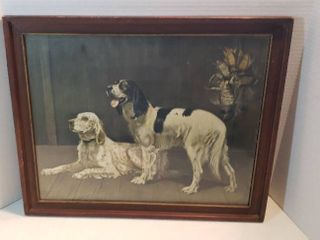 Vintage Framed Print   Hunting Dogs   Faith and loyalty by Alexander Pope   22 5 x 18 5 in