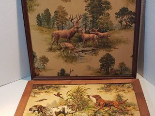 2 Vintage Framed 3D Tapestry Artwork   Deer   23 5 x 20 5 in  and Hunting Dogs   24 5 x 18 in
