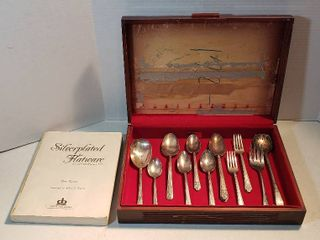 18 pcs  Mixed Patterns of Silverplated Silverware w wood Storage case   17 x 11 5 x 3 5 in  tall and Book of Silverplated Flatware