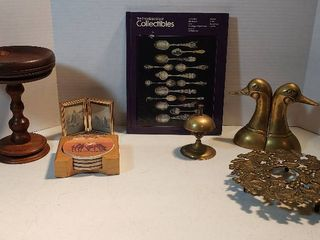 Brass Decor  Duck Bookends  8 in  Trivet  and Bell  4 5 in  tall  Book on Collectibles  Wood Turned Pedestal Stand  4 Horse Ceramic Coasters and Bi fold Frame w Horse Pix