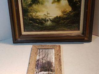 2 Framed Prints   Deer at Brook and Indian Winter Hunt