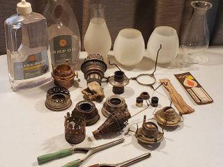 Oil lamp Parts  Mantles  Wicks  Chimneys  lamp Oil and 2 Vintage Hair Curling Irons