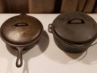 2 No  8 Cast Iron Pans  lidded Deep Side Skillet and Dutch Oven w Wire Bail Handle