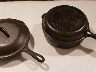 Wagner Ware Cast Iron No  8 Skillet w  lid and 2 pc  No  8 Dutch Oven