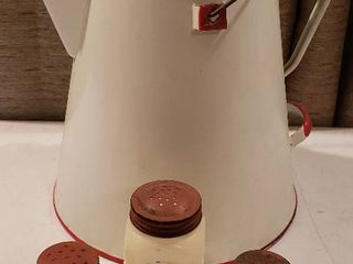 Red White Enamelware large Kettle and 3 Milk Glass Condiment Shakers
