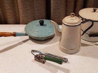 Vintage White Black Enamelware  lidded Pot   Coffee Pot  Teal Wooden Handled Cast Iron Skillet w  lid  Tongs and Ace Knife Sharper