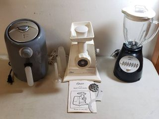 Farberware Oil less Fryer  Oster Electric Meat Food Grinder w Accessories and Oster 14 Speed Blender  glass top