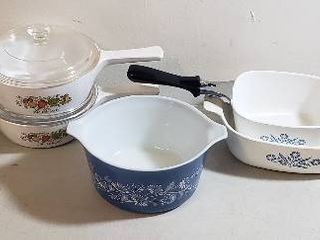 5 Corning Ware Items and 1 Blue Pyrex Bowl