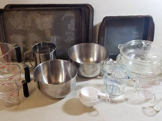 Baking Pans  Metal   Pyrex  Mixing Bowls  Sifter and Measuring Cups