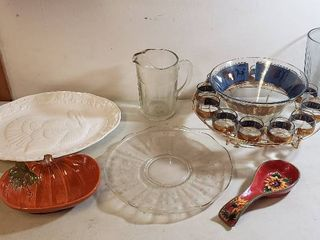 Kitchen Serving Platters  Carousel Horse Design Punch Bowl Set  Pitcher  Spoon Rest and Vase