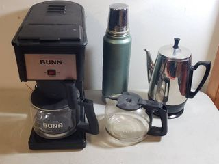 Bunn Coffee Maker w Extra Carafe  Aladdin Stanley Thermos  and GE Chrome Preculator Coffee Pot