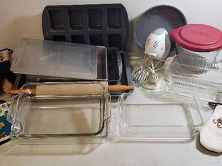 Baking Pans  Metal  Pyrex  Anchor Ovenware  Anchor Mixing Bowl  Hand Blender  Rolling Pin  and Pot Holders