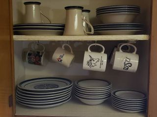 Everyday Stoneware Dishes  Coffee Cups and Drinking Glasses  glass   plastic    Bring boxes to load out