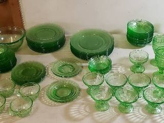 Green Depression Glass Dishes