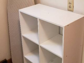 Particle Board 6 Cubby Organizer  24 x 12 x 36 in  tall  and Ironing Board