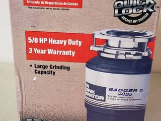 NIB IN Sink Erator Badger 5 Plus Food Waste Disposer   5 8 HP Heavy Duty