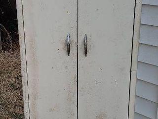 2 Door Metal Cabinet w 5 interior Shelves   24 x 13 x 63 5 in  tall