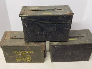 3 Metal Ammo Cans   5 56 MM Ball M193 Storage