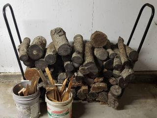 Metal Wood log Storage Rack   4 ft  long  Wood logs and Two 5 gal  buckets of Kindle   Bring Help Move out and load