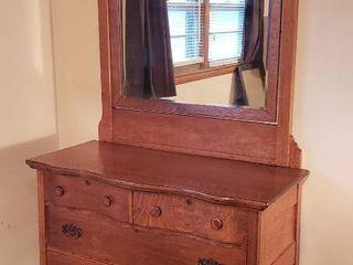 Antique Oak 4 Drawer Dresser on Casters w  Mirror   Dresser  44 x 22 x 35 in  tall   Mirror  41 x 47 in  tall   Mirror is already detached from Dresser