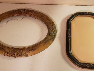 Vintage Frames  Gold Ornate Oval   25 x 19 in   some damage   see pix  and Octogan Ornate w convex glass   13 25 x 20 25 in