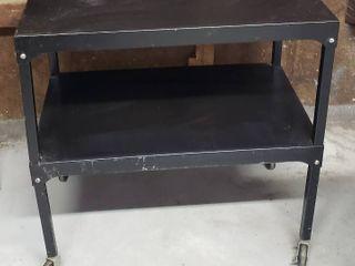 2 Shelf Metal Cart   30 x 18 5 x 30 in  tall   on Casters