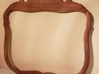 Vintage Shield Style Dresser Mirror Frame   ready to be finished   33 x 30 5 in