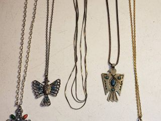 5 Costume Jewelry Necklaces   one Phoenix is marked Nickel Silver Bell