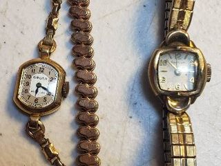 2 Vintage ladies Watches  14K Gold Filled Gruen and 10K Rolled Gold Plate Kingston   both Swiss Made