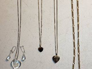4 ladies Heart Necklaces   5   10 year Boeing Service Awards  1 10th 10k  Tiger Eye Stone Heart   Glass Heart w Earrings  1 20th 12k  and 1 20th 12k Gold Filled Heart locket