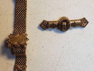 Antique Goldtone Bracelet  marked Pat d Jan 3   82 and Pin