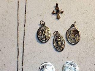 Religious Jewelry  925 Silver Cross Necklace  Goldtone Cross  3 Religious Medallions and 2 Replica Alum  Coins