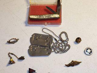 Vintage Items  Dog Tags  Sovereign Pocket knife  and Vintage Pins