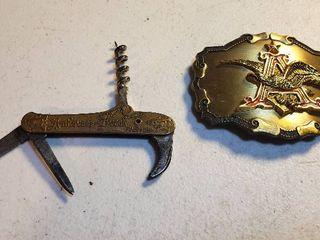 Vintage Anheuser Busch Wine Folding Pocket Tool Knife and Brass Belt Buckle