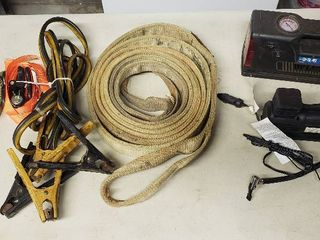 Two 12V Air Compressors  Nylon Tow Strap  Booster Cables and Tie Down Straps