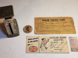 Vintage Gasoline Purchase Permit  1945  Cleveland Indians Baseball Stub w paper Holder  Vintage Postal Scale  and Wooden Nickel
