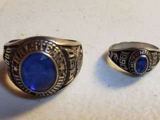 2 Class Rings  1990  by Jostens   made out of luster Metal   Small ladies Hutchinson   Medium Mens Halstead
