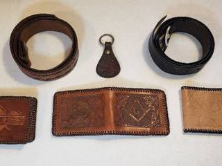 3 Custom Made Mens leather Wallet  2 Mens Belts  34 to 36   needs holes punched   40  and Keychain